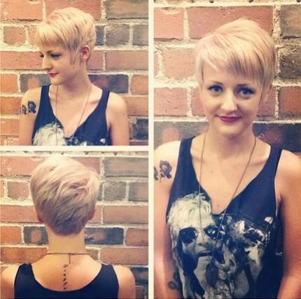 Short Blond Pixie Hair Cut
