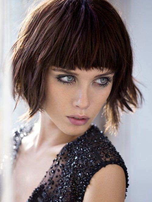 Short Bob Hairstyle with Blunt Bangs