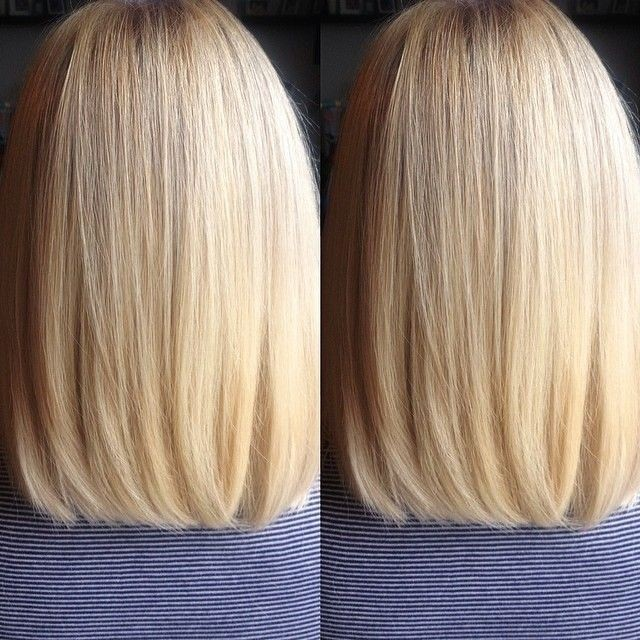 Sleek Straight Long Bob Haircut for Blond Hair