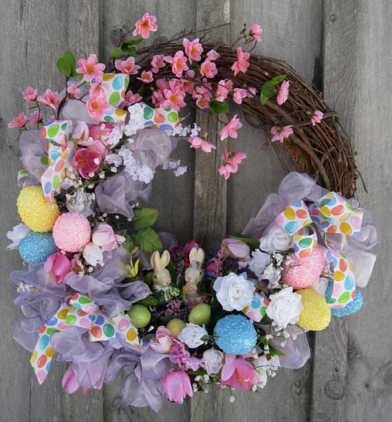 Spring Wreath with Flowers and Easter Eggs