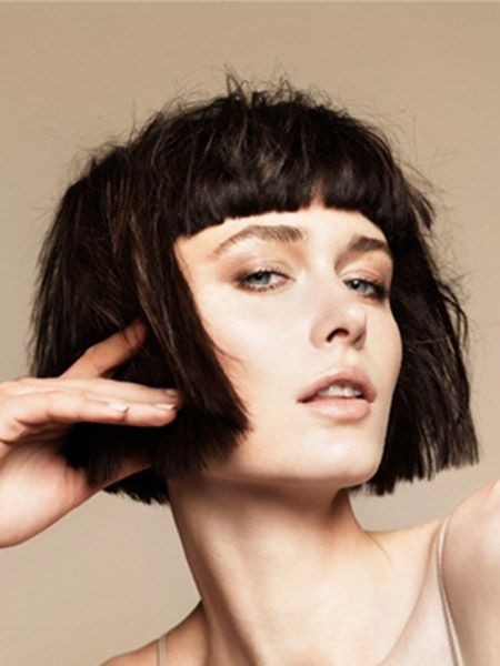 Straight Bob Haircut with Blunt Bangs