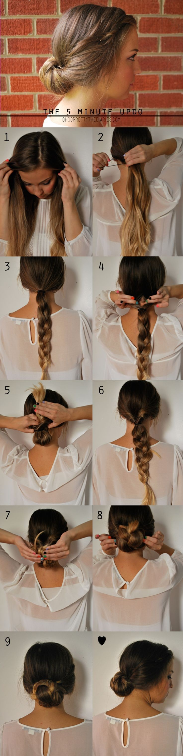 5 Minute Updo Hairstyle for Long Hair