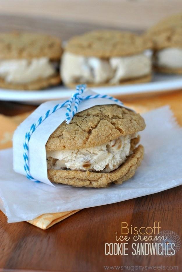 Biscoff Ice Cream Cookie Sandwiches