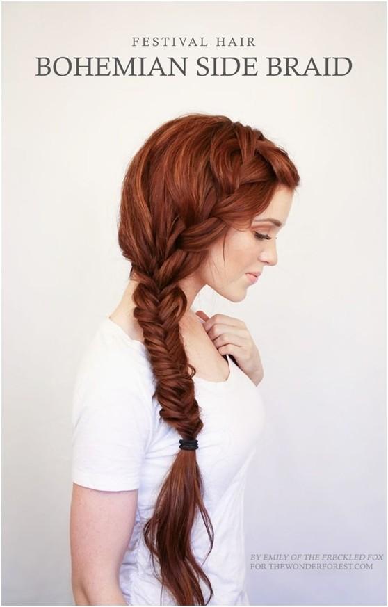 Bohemian Side Braid Hairstyle for Long Hair