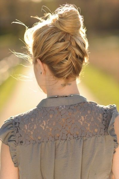 Braided Bun Hairstyle Idea for Long Hair