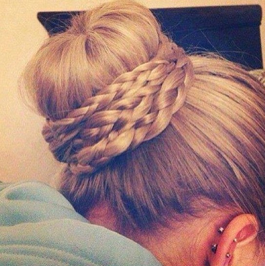 Awesome  Braid Updos Upside Down French Braid Bun Braid And Bun Hairstyles