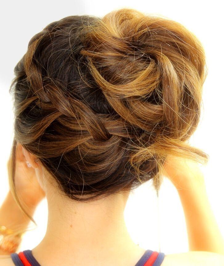Braided Updo Hairstyle for Medium Hair