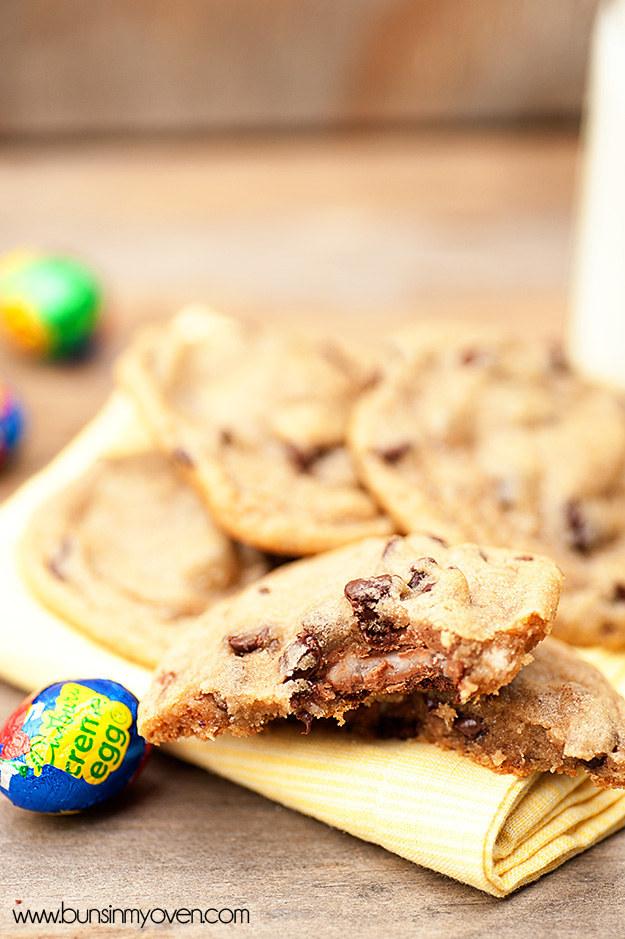 Cadbury Creme Egg Stuffed Cookies