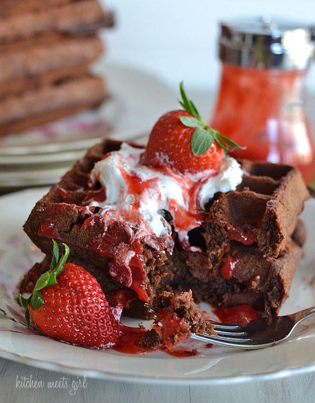Chocolate Brawnie Waffles