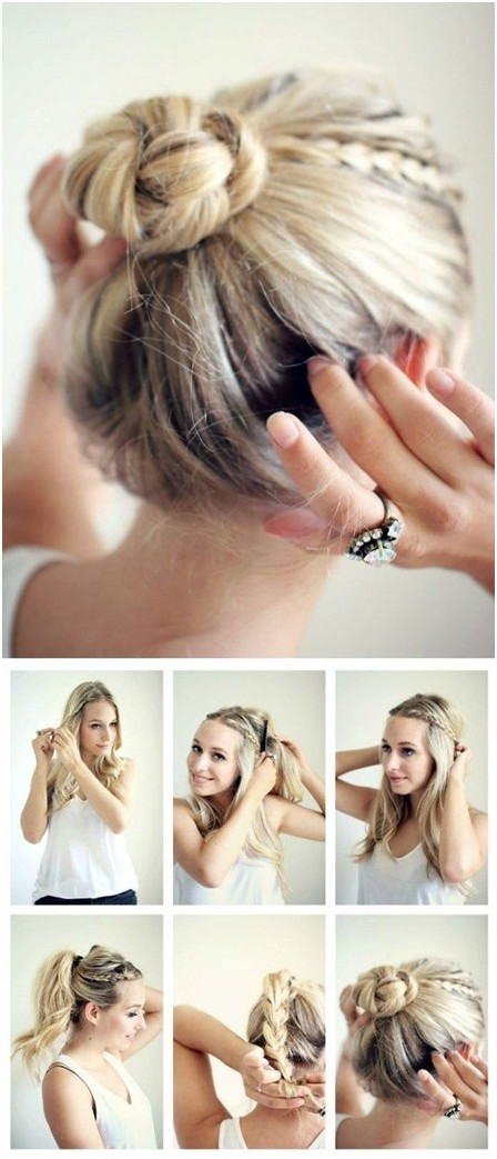 28 super cute bun hairstyles for girls pretty designs cute bun hairstyle with braids urmus Image collections