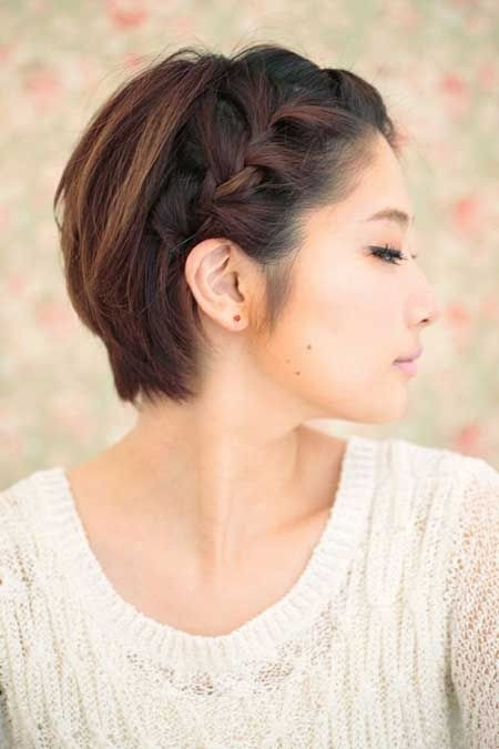 Cute Short Hairstyle with Braided Bangs