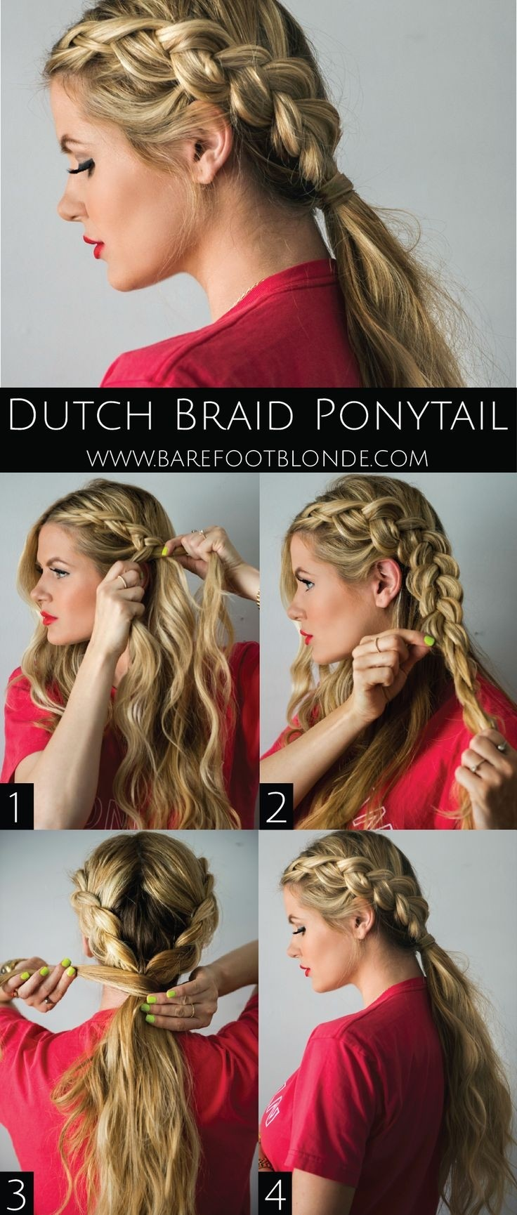 Dutch Braid Ponytail Hairstyle