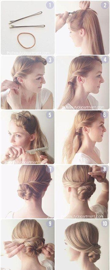 Easy Twisted Bun for Long Hair