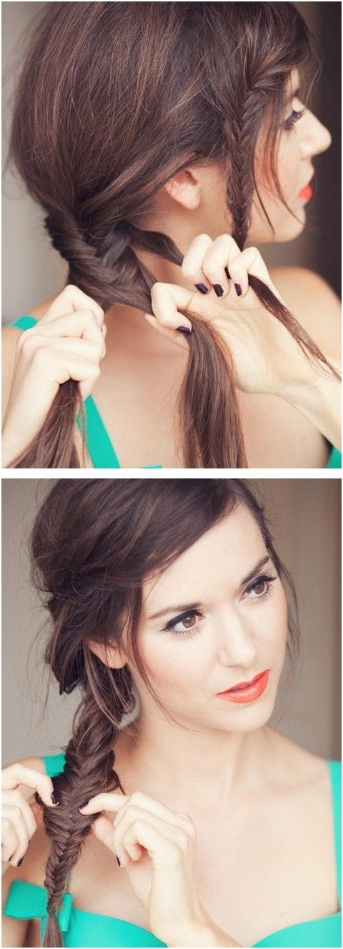Fishtail Braided Hairstyle with Braided Bangs