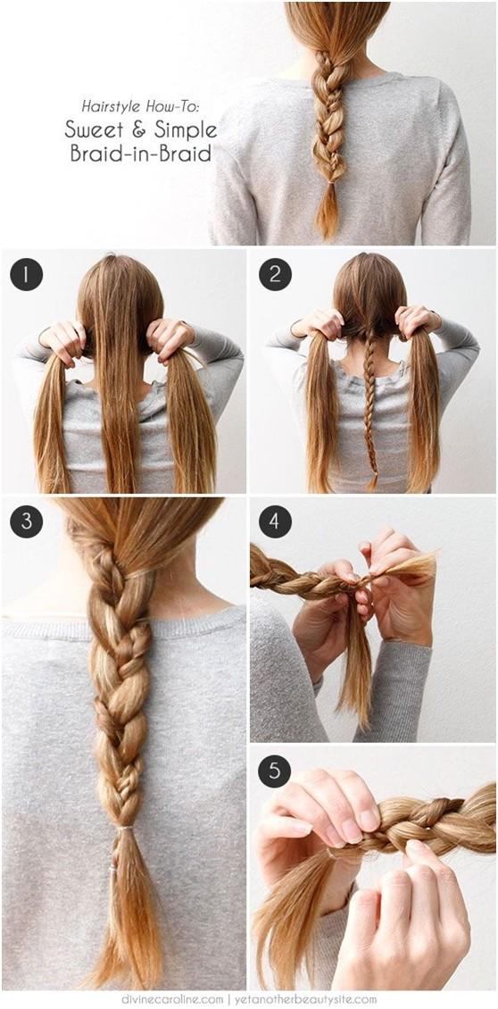Simple Braid in Braid Hairstyle