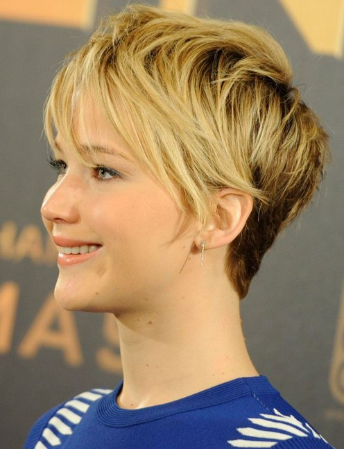 Jennifer Lawrence Short Blonde Ombre Hairstyle