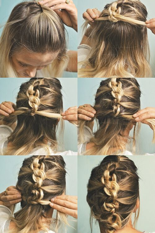 Hairstyles For Long Hair Knots : Knotted French Braided Updo for Medium Length Hair via