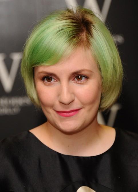 Lena Dunham Green Colored Short Bob Haircut