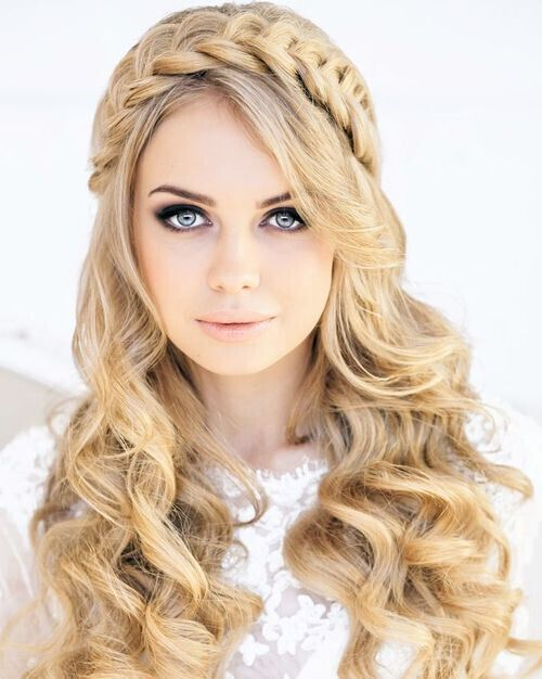 Long Wavy Hairstyle with Braided Headband