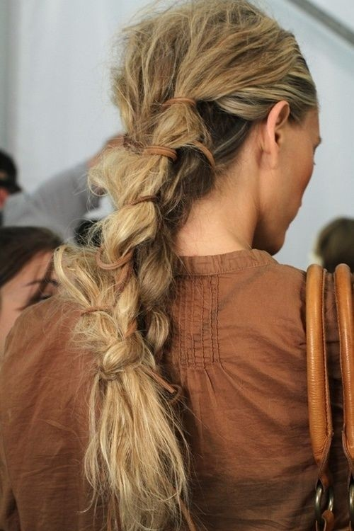 Messy Braid Ponytail Hairstyle