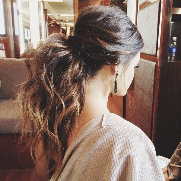 Messy Half Up Half Down Ponytail Hairstyle