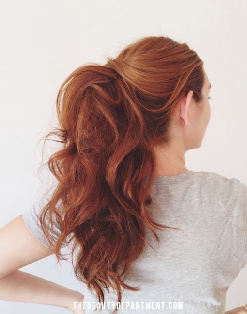 Messy Ponytail for Red Wavy Hair
