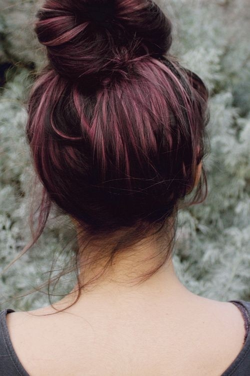 Messy Top Bun for Purple Hair