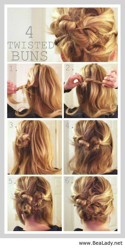 Messy Twisted Bun Idea for Long Hair