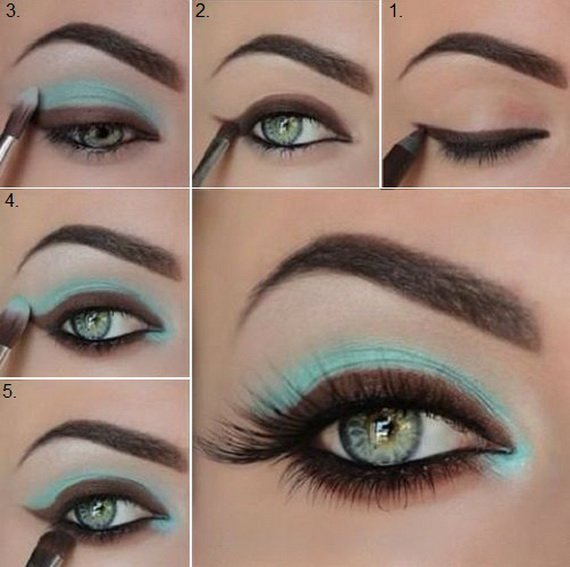 Pale Blue and Brown Makeup