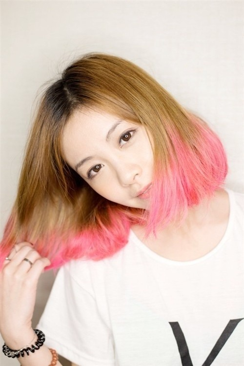 Pink Highlighted Long Bob Hairstyle
