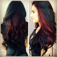 Red Highlighted Hairstyle for Black Hair