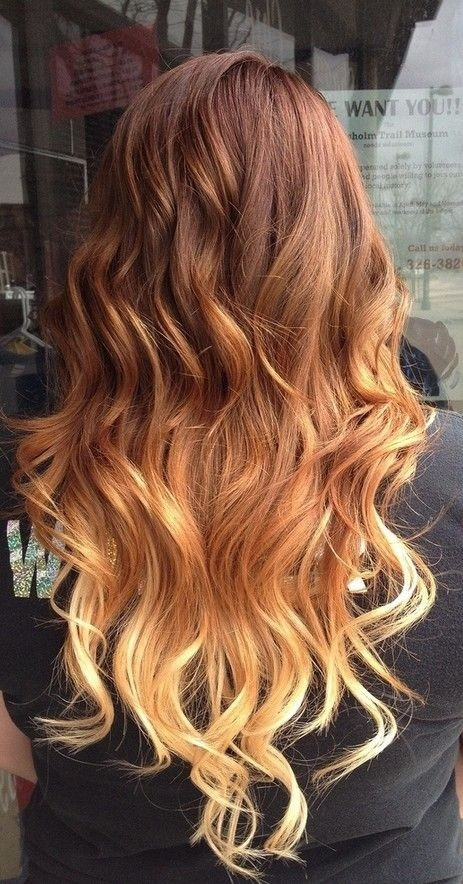 Red to Blonde Ombre Hairstyle