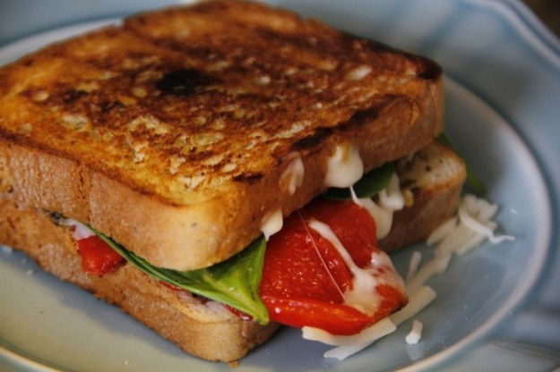 Roasted Red Pepper, Pesto, and Spinach Grilled Cheese