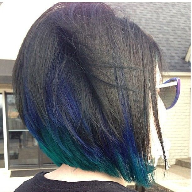 Short Bob Haircut with Blue Highlights