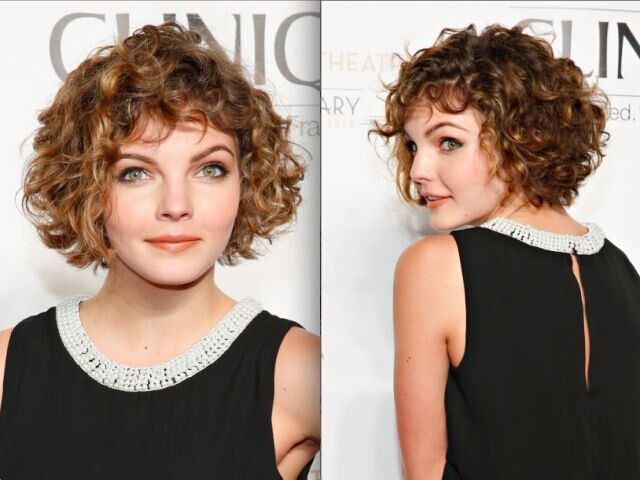Short Curly Hairstyle for Round Face