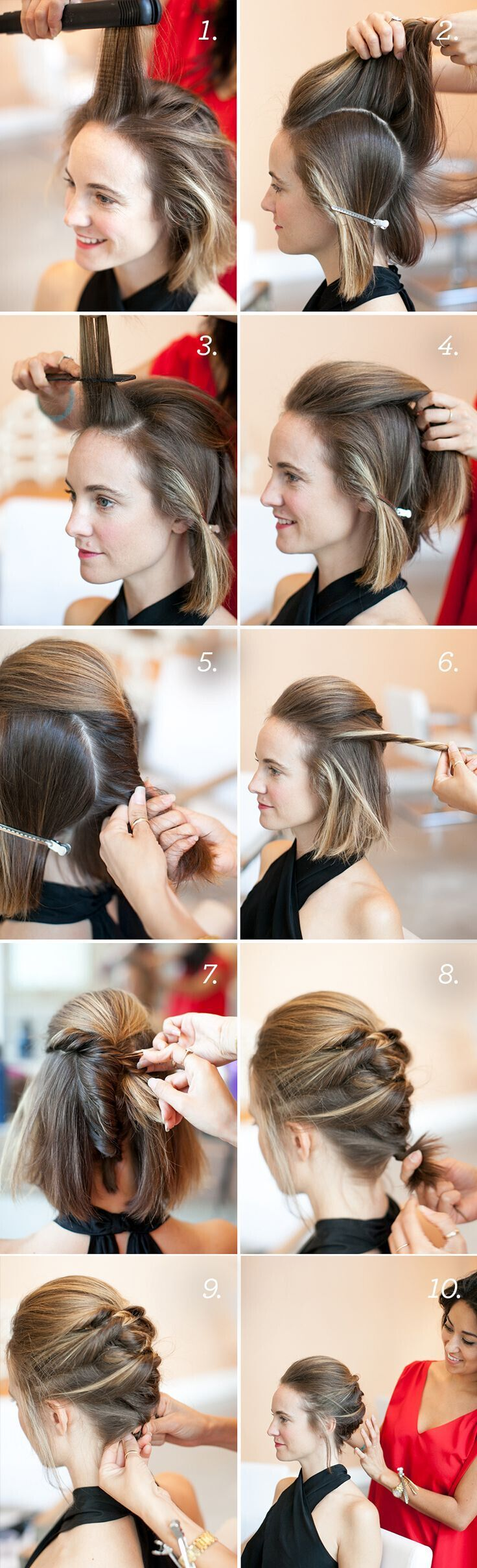 Textured French Braided Updo for Short Hair
