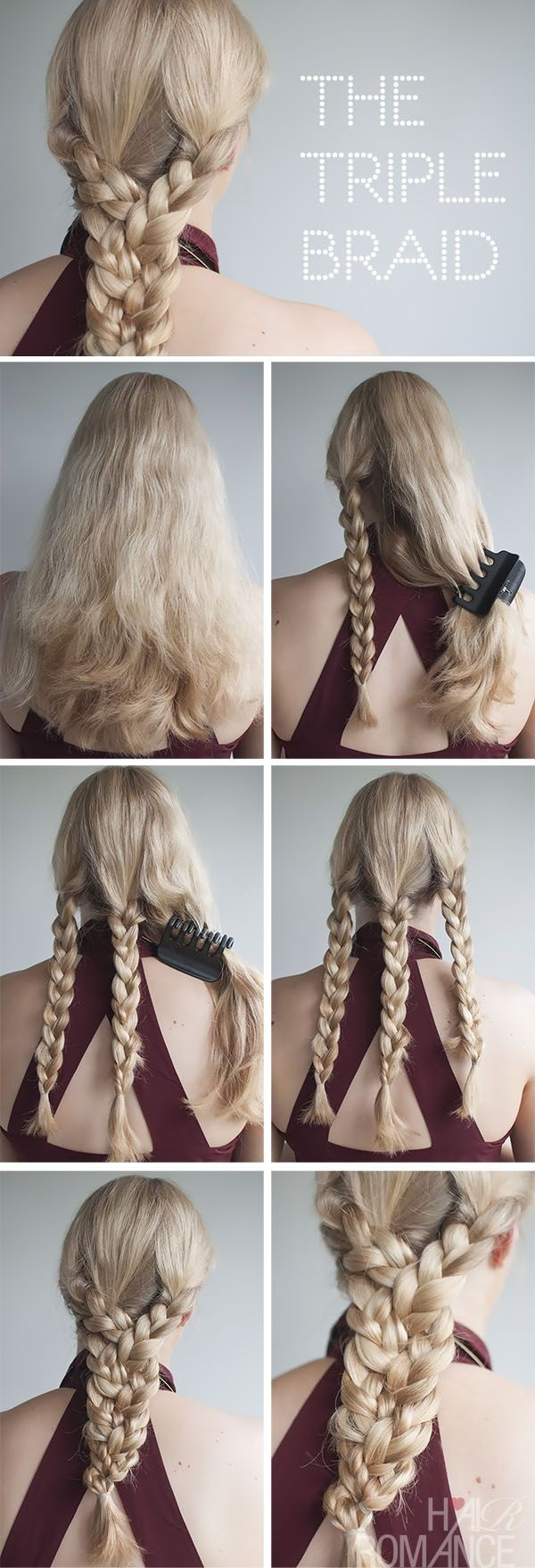 Triple Braided Hairstyle Tutorial For Summer