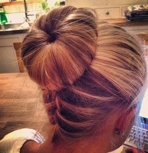 Upside Down Braided Bun Hairstyle