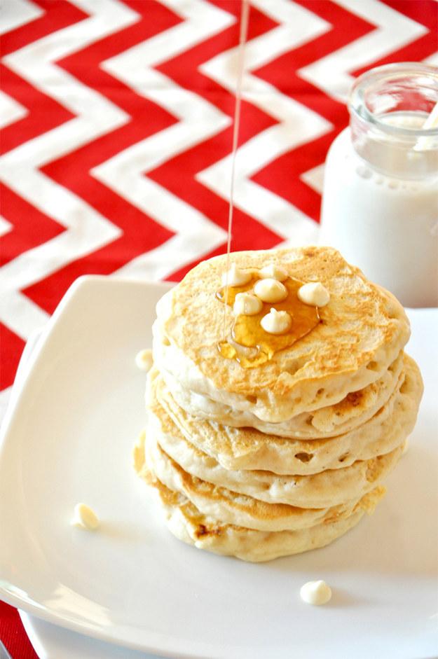 White Chocolate Macadamia Pancakes