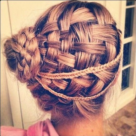 Basket Weave Braided Updo Hairstyle for Prom
