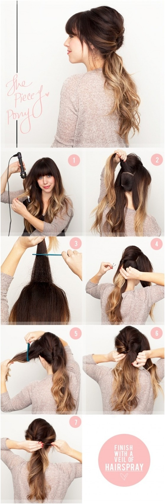 cute hairstyles for picture day at school : Easy Ponytail Hairstyle for Ombre Hair