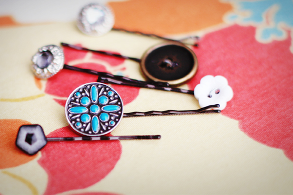 DIY Hair Accessories - button bobby pins