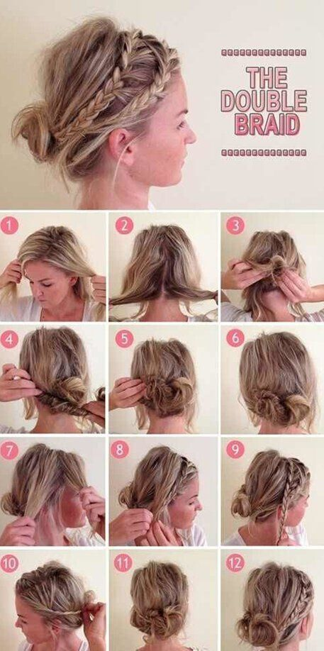 16 easy and chic bun hairstyles for medium hair pretty designs double braid updo hairstyle tutorial pmusecretfo Images