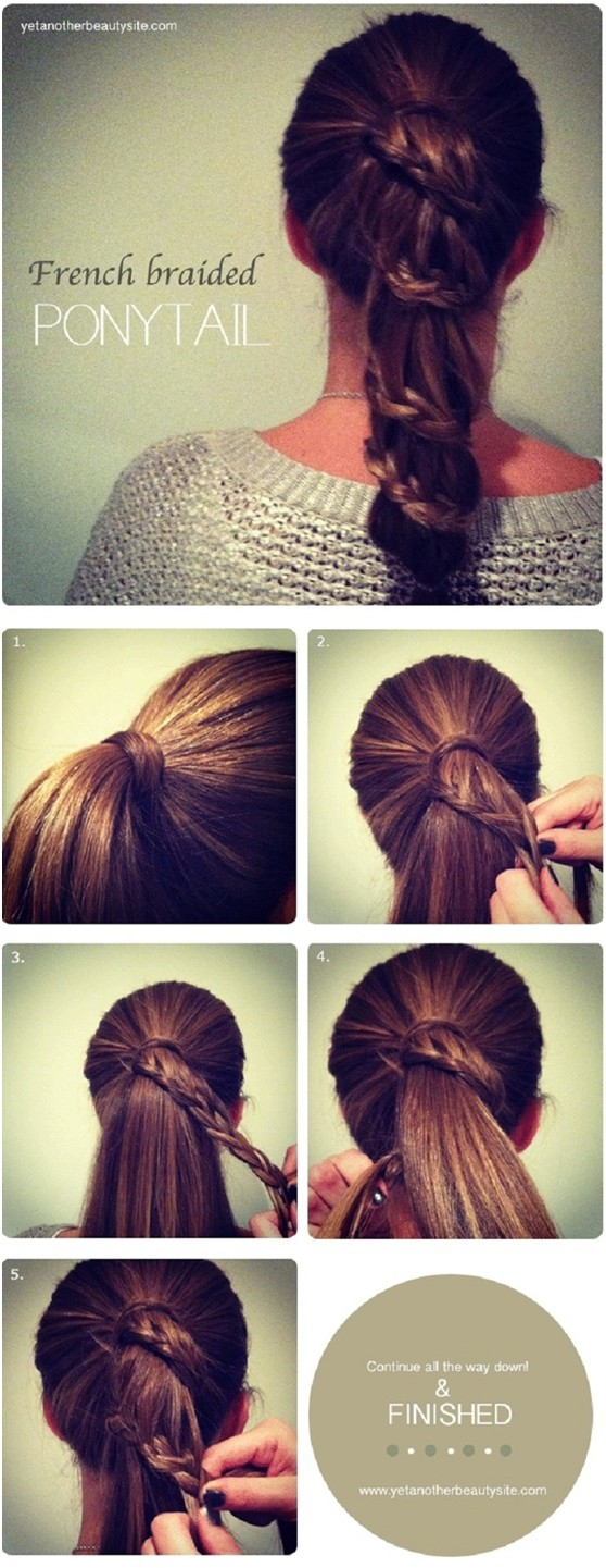 French Braided Ponytail Hairstyle Tutorial