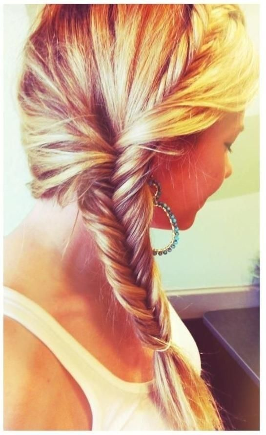 French Fishtail Braid Ponytail Hairstyle