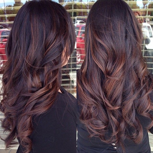 Long Brunette Hairstyle with Red Highlights