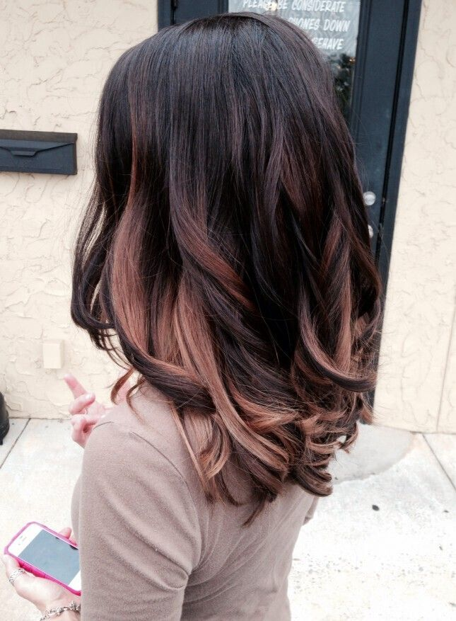 Long Wavy Black Hairstyle with Gold Highlights