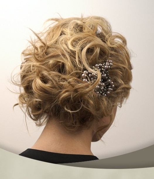 Messy Wedding Updo Hairstyle for Short Hair