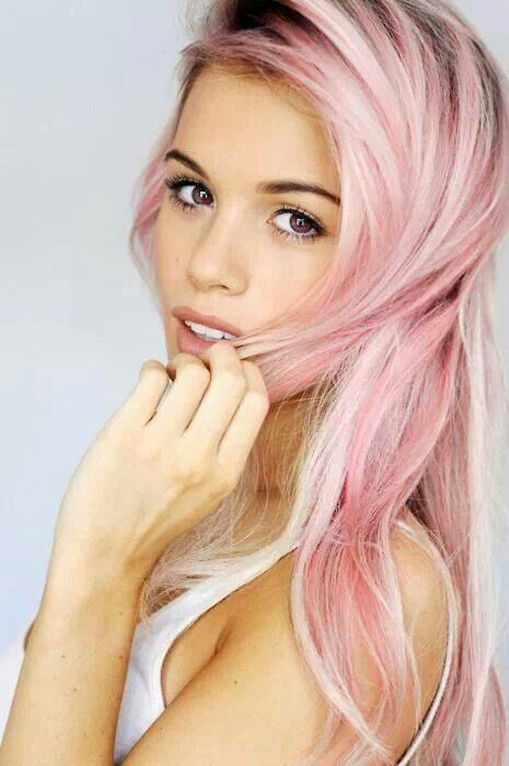 Pretty Pink Hairstyle for Rainbow Hair Color Idea