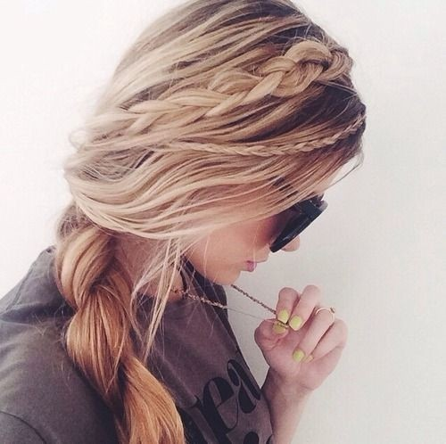 Pretty Side Braided Ponytail Hairstyle for Long Hair